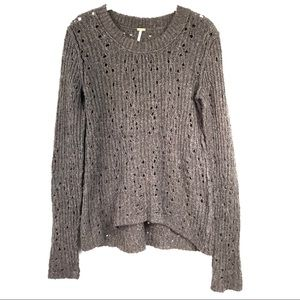 Free People brown grey wool holey rib knit sweater
